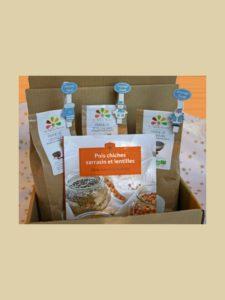 Colis des Amis : livre de recettes et les farines pour les réaliser. Farines de sarrasin, lentilles et pois chiches - La Ferme des Bouviers