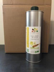 Bouteille d'huile de colza en métal vendue en carton de 6 bouteilles - La Ferme des Bouviers