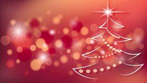 Image Noël avec sapin sur fond rouge - La Ferme des Bouviers